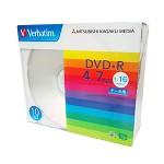 威宝(Verbatim)彩虹系列 16速 DVD+R 空白光盘 10片薄盒装 刻录盘 碟片