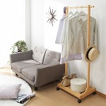 家逸(JIAYI)  可调节衣架 实木落地挂衣架 卧室衣帽架