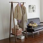 家逸(JIAYI) 松木折叠挂衣架 实木衣帽架 卧室落地挂衣架 创意欧式木质衣服架子衣架
