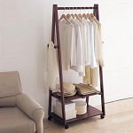 家逸(JIAYI)  天然实木晾衣架 多用可移动晾晒挂衣架 卧室落地衣帽架