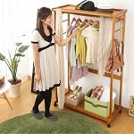 家逸(JIAYI)  卧室落地挂衣架 实木衣帽架 木质衣架衣服架 置物挂衣架 简易衣柜