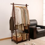 家逸(JIAYI)  实木落地衣帽架 落地卧室衣服架 晾衣架 新款三角挂衣架 棕色