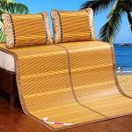 九洲鹿 双人加大碳化双面竹凉席子麦园花镜面竹席(不含枕席)-1.5米床