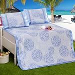 九洲鹿 凉席印花冰丝席三件套双人床席凉席子 可折叠凉席 紫丁香 1.5米床