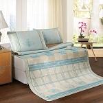 富安娜家纺 圣之花夏季床上用品 夏凉凉席冰爽提花席 格趣 蔚蓝世界 格趣-蓝色 1.5*2米