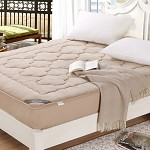 博洋家纺(BEYOND)床品家纺 珊瑚绒舒柔床褥 驼色 床笠款 双人床褥 180*200cm