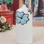 四叶草(SIYECAO) 现代简约创意时尚落地客厅 摆设摆件家居装饰品蓝白 陶瓷花器花瓶 蓝白花瓶