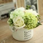 米子家居 欧式仿真花艺摆件装饰花假花 潘塔纳尔陶土花瓶整体花艺 中号