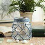 米子家居 创意清新海洋玻璃麻绳材质花瓶  爱丽儿蓝色网绳瓶 小号