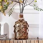 奇居良品 印度进口家居装饰摆件 岗瓦麻绳编织玻璃装饰摆瓶花瓶 A款