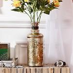 奇居良品 印度进口家居装饰摆件 罗门镀银玻璃装饰摆瓶花瓶 罗门镀银玻璃装饰摆瓶花瓶