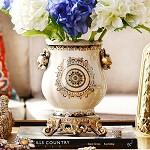 奇居良品 欧式家居装饰摆件 卡蒙裂纹贴花陶瓷花瓶花器花插 A款