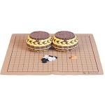 双元(SHUANGYUAN) 高性价比精瓷/箕子围棋套装 棋盘套装 菱纹棕黄篓单面箕子19线仿皮盘