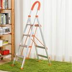 密林 ML-LH04 梯子D型铝合金梯子宽踏板家用梯四步梯 人字梯折叠梯 橘黄