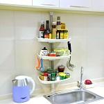 宝优妮 DQ-0787-3 厨房调味料瓶品置物架 收纳架免打孔三层不锈钢储物架角架