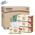 清风 抽纸原木盒装面巾纸盒抽纸 200抽*3*12 单个硬盒
