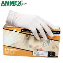 爱马斯(AMMEX)一次性医用手套 橡胶乳胶手套 实验室外科手术检查手套无粉 100只/盒 S/M/L码请备注
