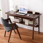 家逸 简约书桌写字台 实木电脑桌办公桌 棕色1.2米