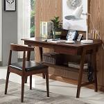 风之意 北欧实木书桌 家用小户型办公桌 现代简约带抽屉写字台 胡桃色 1.2m