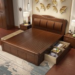 雅瓊(YQ)雙人中式實木床 箱框結構 1.5米 胡桃色