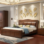 雅瓊(YQ)雙人中式實木床 框架結構 1.5米 胡桃色