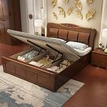 雅琼(YQ)双人中式实木床 框架结构 1.5米 胡桃色