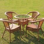 淮木(HUAIMU)户外休闲桌椅 藤编椅 4椅1大圆桌