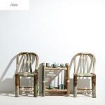 艾一 (Aiee) 竹椅子靠背椅 家用竹制圆背餐椅 面高45cm 加宽圆背椅面高45cm
