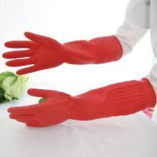 多多 植绒加长保暖加棉手套 家务打扫洗碗洗衣绒里乳胶橡胶手套 M、L号备注