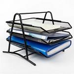创奇艺 A4金属网格三层文件架 办公桌面文件资料收纳筐置物架 350mm*302mm*265mm