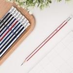 得力(deli)58146 2B六角杆书写铅笔 带橡皮 颜色随机 30支装