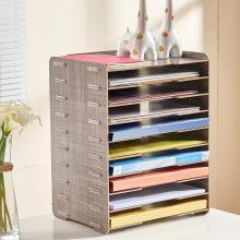 艺匠 08679 木质创意桌面档案文件架 柚木色 十层