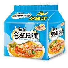 康师傅(KSF)熬制高汤 金汤虾球面袋面 泡面五连包