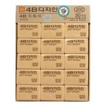 南韩 200A 大号黄色4B橡皮擦 30个/盒