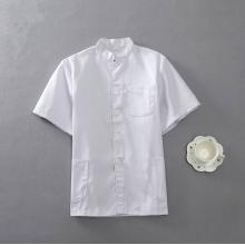 广明 2-1 涤卡中式立领冬装短袖厨师服 次白色(尺寸备注)