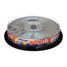 飞利浦(PHILIPS)DVD+R 光盘刻录盘空白光盘 16速4.7G 10片/桶
