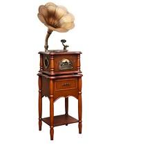 梵尼诗(Fennessy)欧式实木复古唱机 英国棕PLUS+铜喇叭+涡轮唱臂+金属唱盘