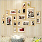 全悦(QUANYUE)实木照片墙 20框超大款相片墙 全原木色