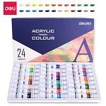 得力(deli)73858 美术绘画丙烯颜料 24色/盒 墨、颜料