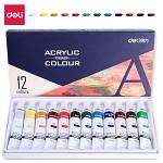 得力(deli)73856 美术绘画丙烯颜料 12色/盒 墨、颜料