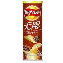 乐事(Lay's)黑椒牛扒味薯片 罐装  104g 食品饮料