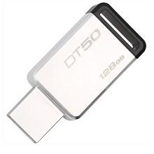金士顿(Kingston)DT50 128GB USB3.1 金属U盘 高速车载U盘 黑色