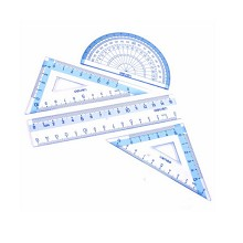 得力(deli)9594 学生套尺 直尺三角尺量角器 4件套装