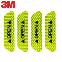 3M反光贴车门开门安全警示车贴汽车贴纸 荧光黄绿色 2.5*9.3cm 4片装