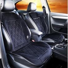 卡饰社(CarSetCity)CS-83114 双座天鹅绒系列 加热保暖坐垫 汽车用品 冬季座垫座套 通用型 黑色