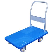 飞月 dx-230 不静音板车拉货仿不锈钢平板车搬运塑料手推车 蓝色 72*48cm承重300斤