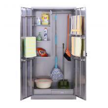 健威 BXG-QJG882 清洁柜不锈钢201家用保洁拖把收纳柜卫生清洁用柜扫 白色 1800*900*400