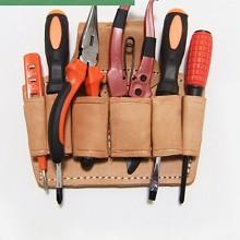三奥 加厚多功能维修工具包牛皮电工快插腰包五金皮套钳工套工具袋 皮6联 钳工袋