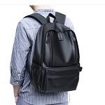第九城V.NINE VD7BV32943J 双肩包男士时尚潮流软皮背包大中学生书包运动旅行多功能电脑包带USB接口  黑色