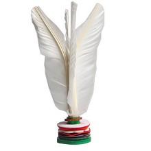 蜗牛小姐 精装白色鹅毛毽子 大号羽毛牛筋底比赛毽球 不易折断 耐用型 带球筒